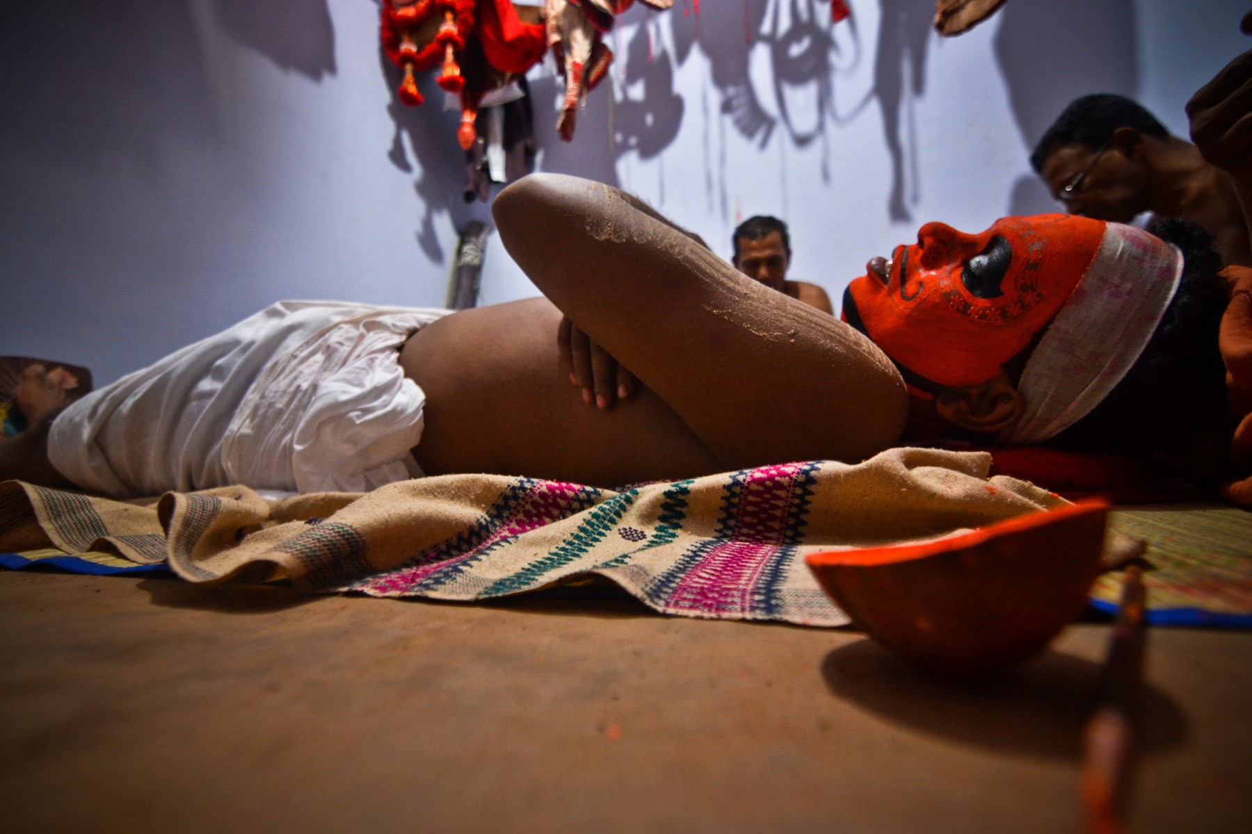 A Theyyam artist getting ready to perform