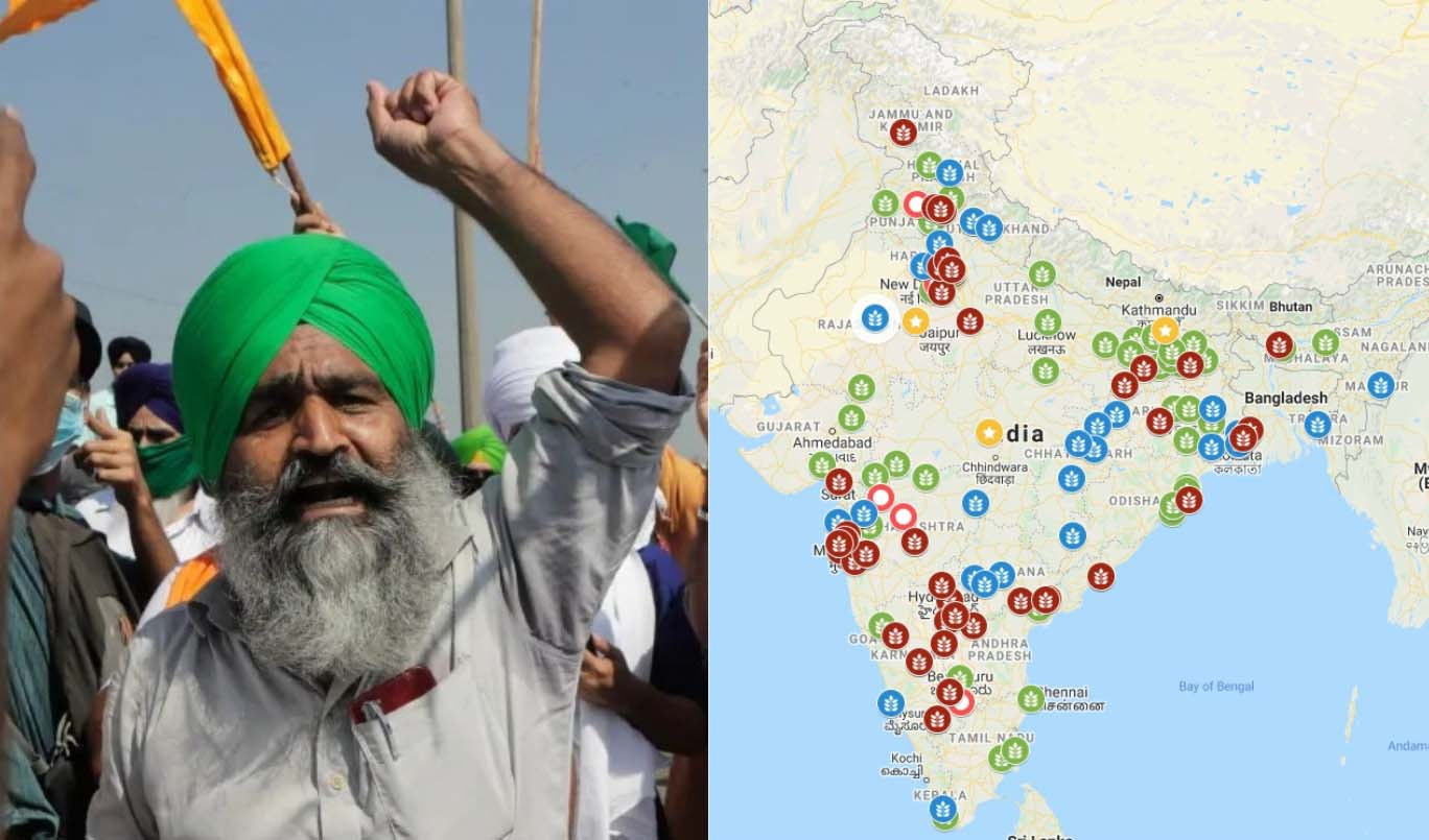 farmers protest map