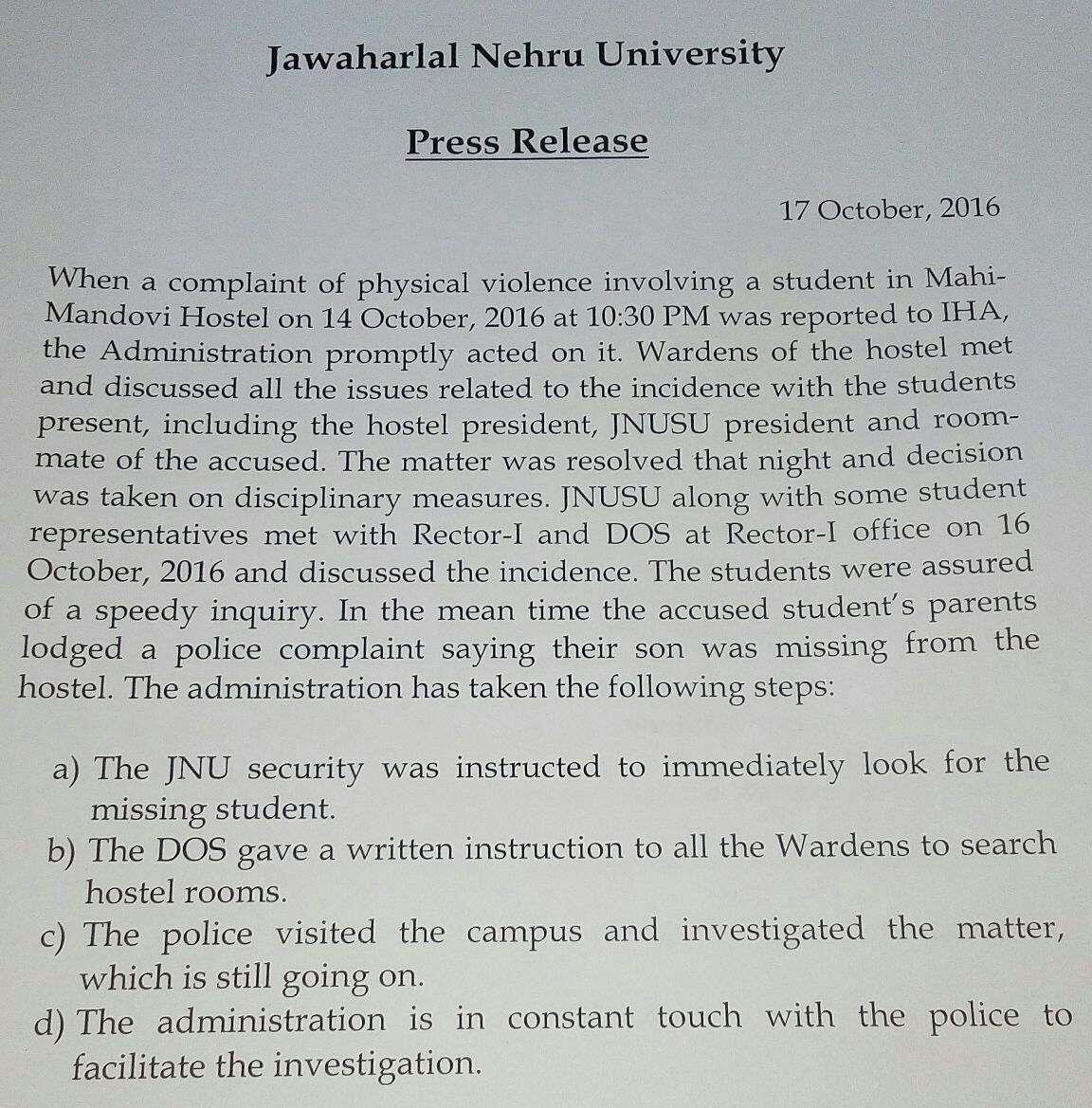 JNU Press Release