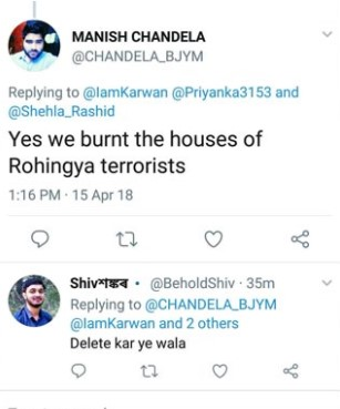 BJP youth wing member allegedly boasts about burning Rohingya camp