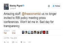Stanley Pignal Tweet on RBI Barring His Entry into Press Meet
