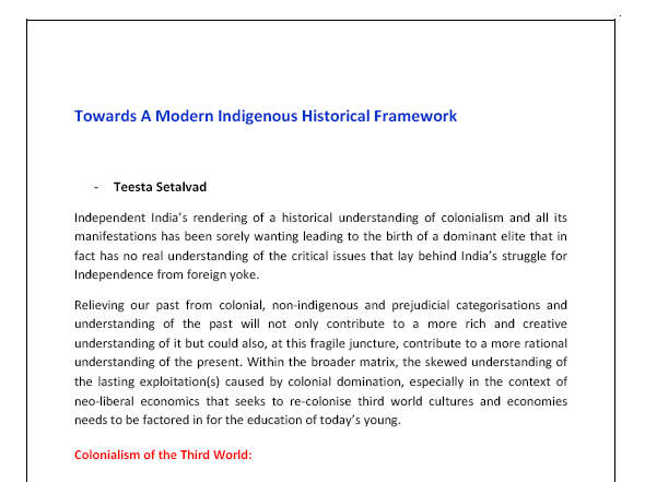 Towards A Modern Indigenous Historical Framework